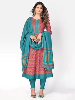 Women's Printed & sequience work A-line Cotton Pink Kurta With Pant & Dupatta