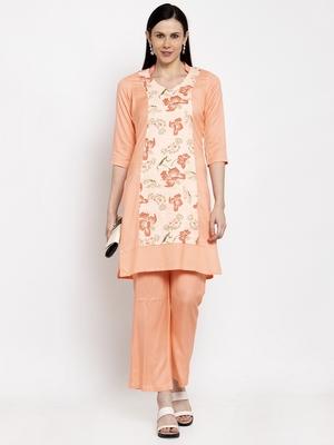 Orange handloom viscose rayon salwar