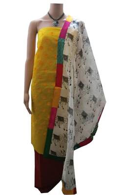 Nandi block print dupatta with yellow chanderi top and red cotton bottom