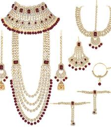 Ethnic Indian Traditional Red Gold Plated Kundan Dulhan Bridal Jewellery Set with Choker Earrings Maang Tikka