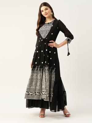 Kvsfab Women Black & White Embroidered Sequins Tiered Layered Anarkali Kurta