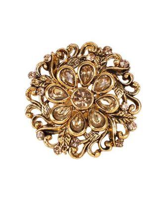Steorra Jewels Round Golden Copper Kundan Ring