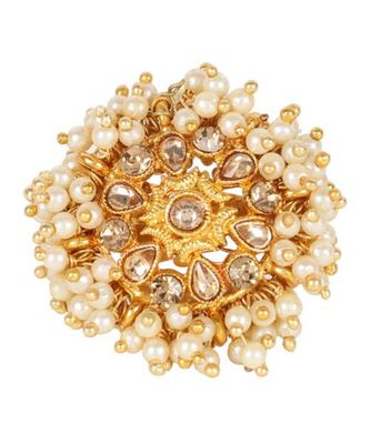 Steorra Jewels White Pearls Golden Texture Kundan Ring