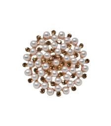 Gold Tone Circular Shape White Pearl Traditional Adjustable Finger Ring For women And Girls