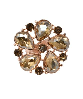 Gold Tone Crystal Shine Golden Partywear Circular Shape Adjustable Finger Ring For Women And Girl