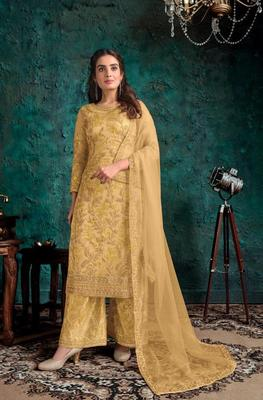 Yellow Butterfly net Shtraight cut Embroidered Plazzo suit