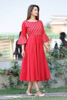 Red plain cotton ethnic-kurtis