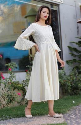 Cream plain cotton ethnic-kurtis