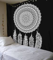 Tapestry Balck & White Color with Leaf Rangoli Print Wall Hanging (84 x 90 Inch)