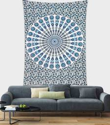 Tapestry Mandala Blue Color Peacock Design Wall Hanging  (84 x 90 Inch)