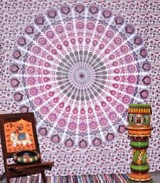 Tapestry Mandala Pink Color Peacock Design Wall Hanging  (84 x 90 Inch)