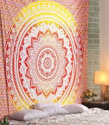 Tapestry Round Shape Pink Color Rangoli Print Wall Hanging (84 x 90 Inch)