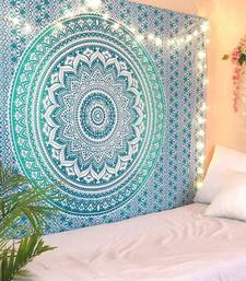 Tapestry Round Shape Green Color Rangoli Print Wall Hanging (84 x 90 Inch)