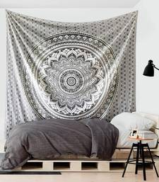 Tapestry Round Shape Gray & White Color Rangoli Print Wall Hanging (84 x 90 Inch)