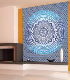 Tapestry Round Shape Blue Color Rangoli Print Wall Hanging (84 x 90 Inch)
