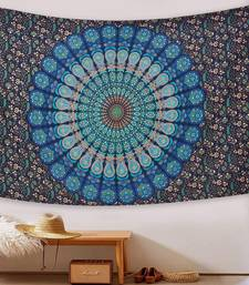 Tapestry Mandala Peacock Design With Blue Color Wall Hanging  (84 x 90 Inch)