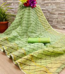 Parrot green printed cotton silk saree with blouse