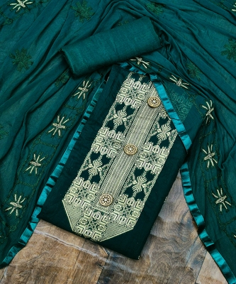 Dark-green jacquard chanderi salwar