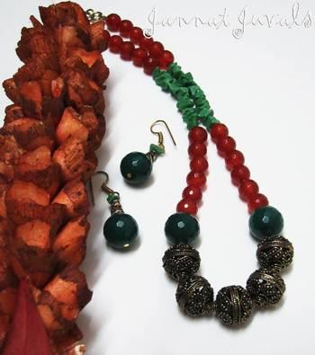 Orange and Green Onyx neckset