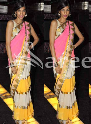 Pink, Off white and Yellow saree