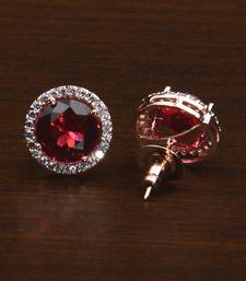 Rose Gold Plated Magenta Stone Embellished American Diamond Stud 216ED600