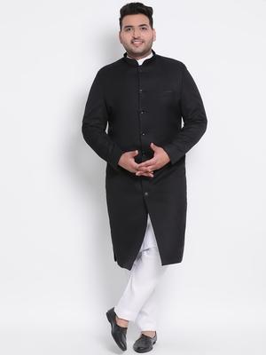 black plain viscose sherwani