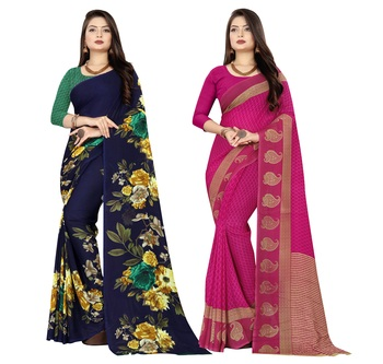 multicolor Georgette Printed Daily Wear Saree With Blouse (Pack of 2)