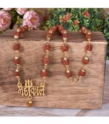 Men Lord Shiv Mahakal Locket With Puchmukhi Rudraksha Mala (8MM Beads) Gold-plated Plated Wood Chain