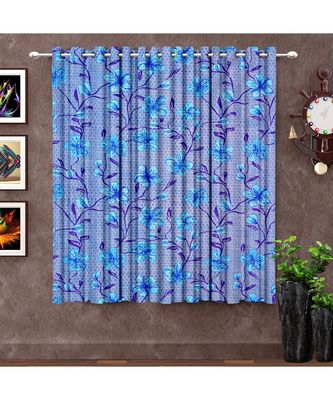 A Blue Polyester Punching Printed Window Curtain