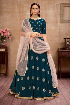 Teal Color Foil Work Womens Semi Stitched Lehenga With Unstitched Choli
