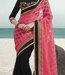 Buy Pink and Black embroidered georgette saree with blouse bollywood-saree online