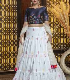 White And Navyblue Color Embroidered Work Womens Semi Stitched Lehenga With Unstitched Choli