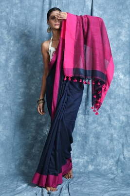 Navy blue plain blended cotton saree with blouse