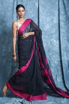 Black plain blended cotton saree with blouse