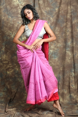 Pink plain blended cotton saree with blouse