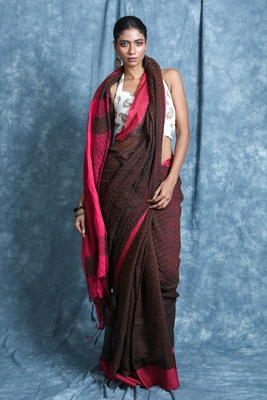 Brown plain blended cotton saree with blouse