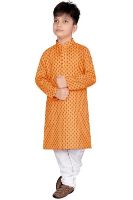 Orange printed cotton poly boys-kurta-pyjama