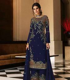 Blue Faux Georgette Shtraight Cut plazzo Style suit with embroidery Work