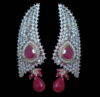 Glorious semi precious ruby red earring with embellishment