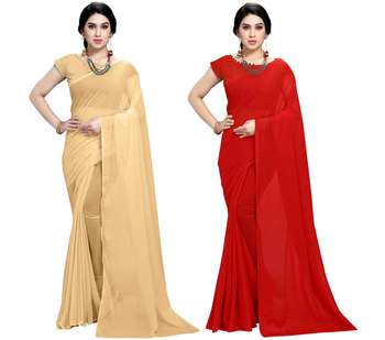 multicolor Georgette Plain Daily Wear Saree With Blouse (Pack of 2)