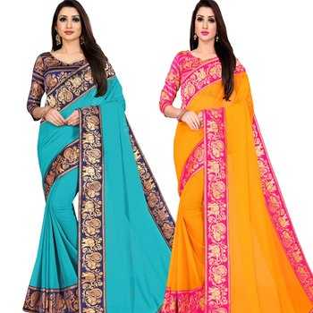 multicolor Chiffon Lace Border Party Wear Saree With Blouse (Pack of 2)