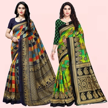 multicolor Lichi Printed Festive Wear Saree With Blouse (Pack of 2)