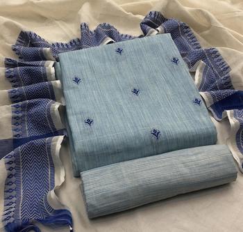 Sky-blue weaved cotton salwar
