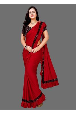 Red plain lycra saree with blouse