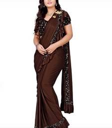 Brown plain lycra saree with blouse