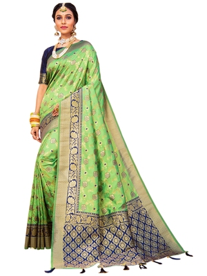 Light parrot green hand woven banarasi silk saree with blouse