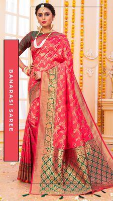 Hot pink hand woven banarasi silk saree with blouse