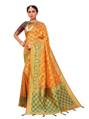 Mustard hand woven banarasi silk saree with blouse