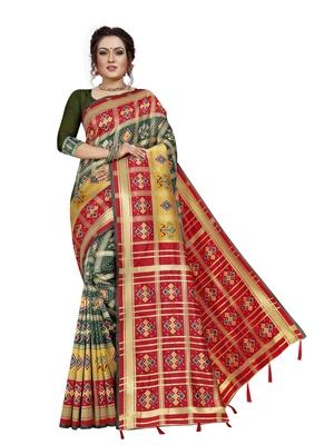 Green hand woven banarasi silk saree with blouse