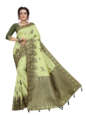 Light green hand woven banarasi silk saree with blouse